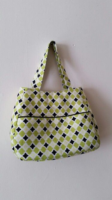 Swoon pattern,  Ethel.  Created by me.  Green,  black,  white tote bag. Swoon sewing patterns.