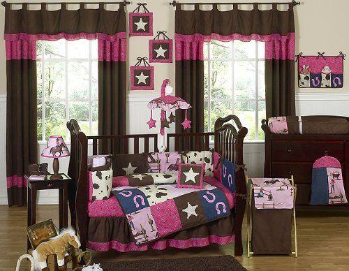 Western Horse Cowgirl Pink and Brown Baby Girl Bedding 9pc Crib Set Sweet Jojo Designs http://www.amazon.com/dp/B002E9WK2Q/ref=cm_sw_r_pi_dp_H.Kdvb1ND0N6B