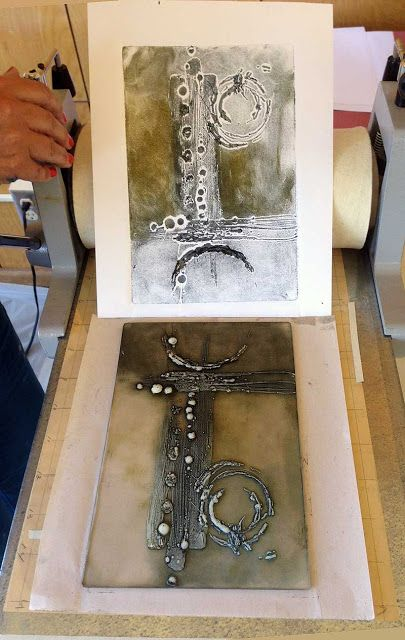 Judy Wise: Collographs with Akua Inks. Very cool, using beeswax for making the design!