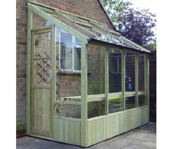 Swallow Finch 12x4 Wide ThermoWood LeanTo Greenhouse With Installation - GardenSite.co.uk