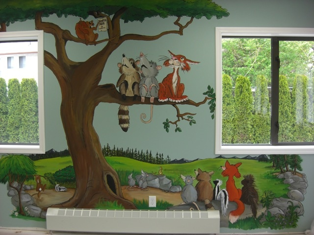 Mural I painted in our newly built church nursery.
