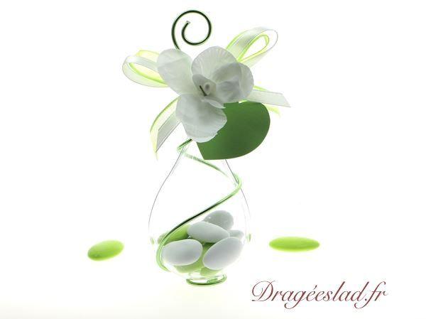 Contenant dragées vert anis, Goutte dragées mariage original - Dragéeslad