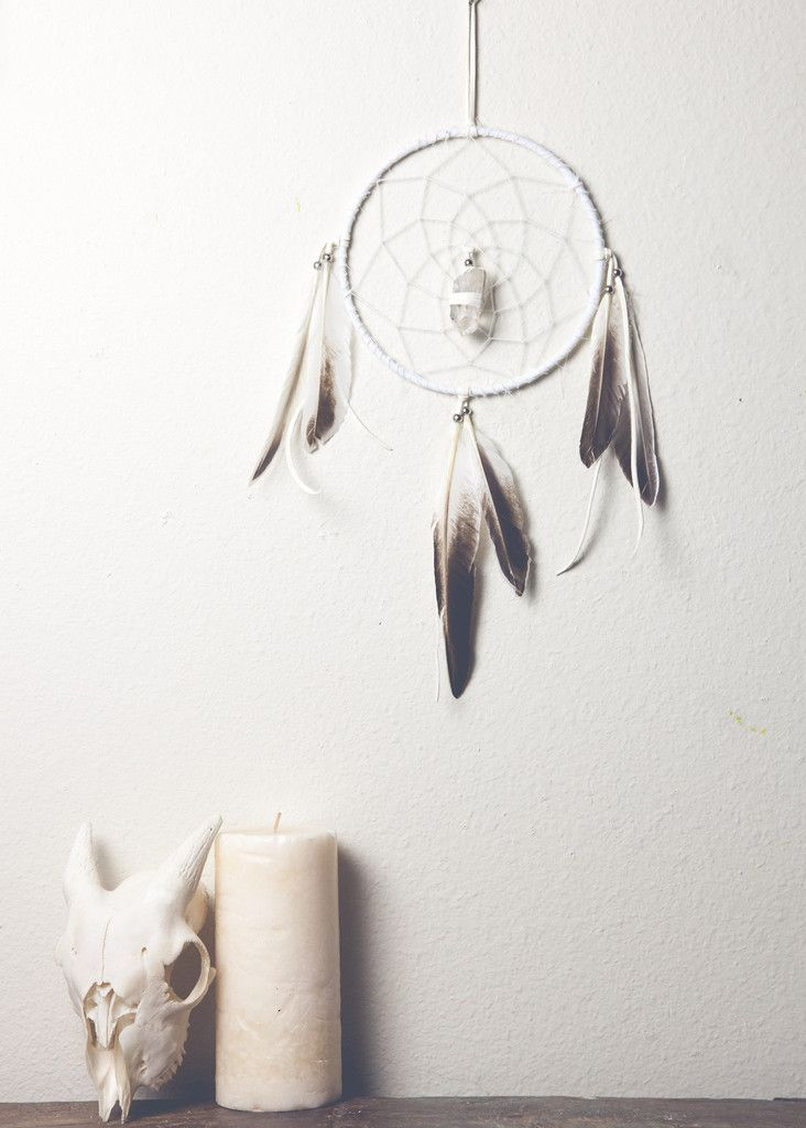 Image of White Bohemian Dream Catcher with Feathers by SoulMakes