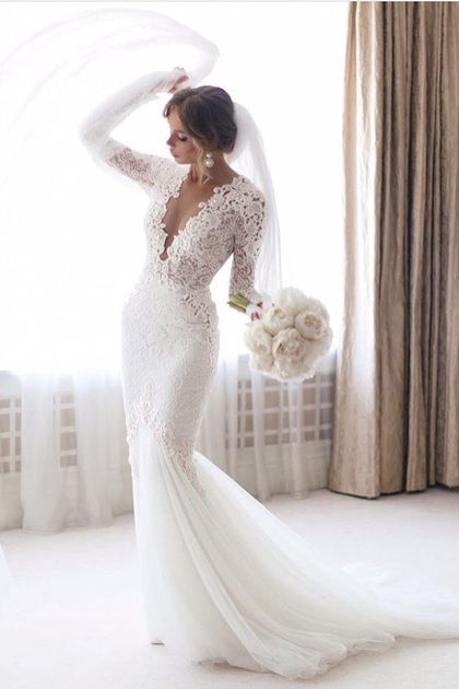 2019 Scoop Sheath / Column Wedding Dresses Sweep Train Tulle & Lace With Applique Long Sleeves US $ 299.00 LCP6KMTS1J