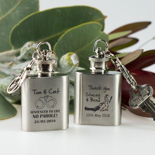 Engraved Mini Hip Flask Keyring Wedding Favour