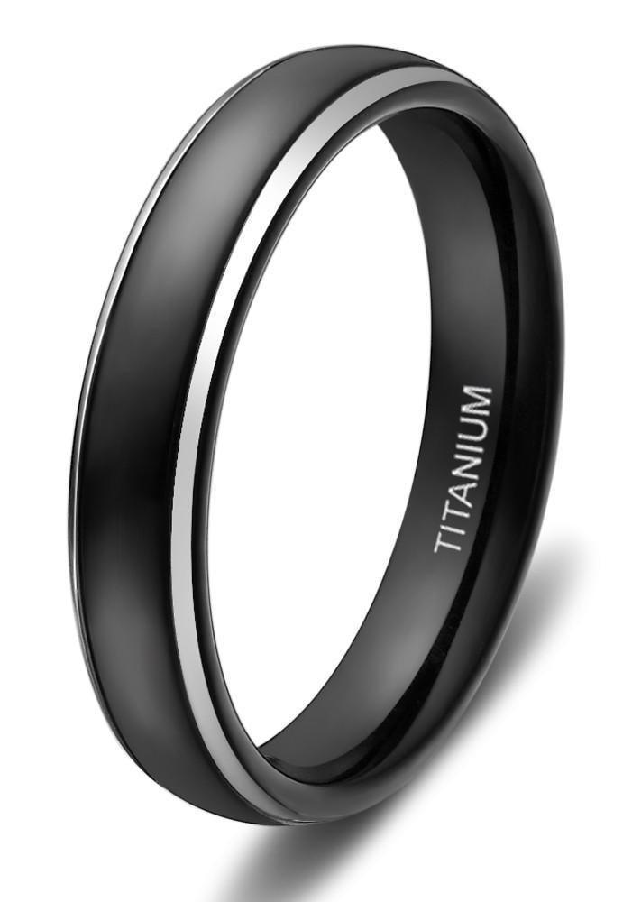 4mm Thin Black With Silver Edges Titanium Mens Ring Titanium