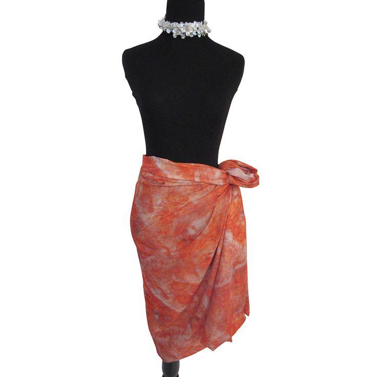 'Tangerine Dream' Cotton Voile Pareo/Sarong