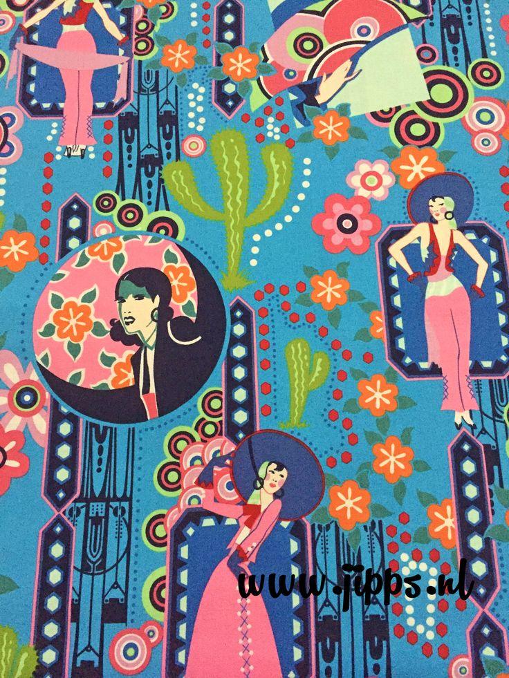 Ranchera Blue - Alexander Henry Fabrics Online stoffen Jipps.nl