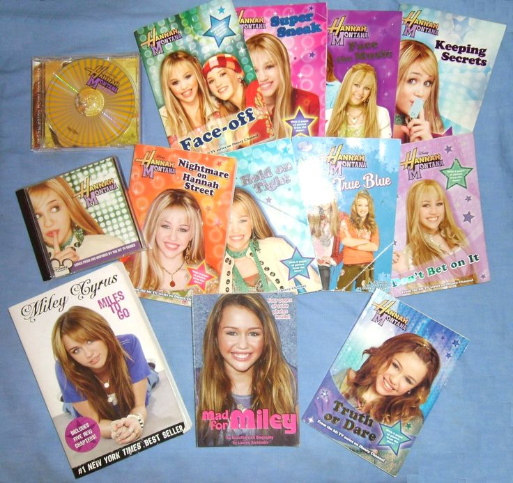 Books/CDs/DVD - Hannah Montana pkg. Books from tv series-Face-Off,Super Sneak,Truth or Dare,True Blue,Don't Bet on It, Face the Music,Nightmare on Hannah Street,Keeping Secret, Hold on Tight. Biographies Mad for Miley by Lauren Alexander and Miley Cyrus-Miles to Go by Miley Cyrus. Hannah Montana The Movie soundtrack CD,                                                                                  Hannah Montana television series soundtrack CD/Music video/DVD combo $35 for complete pkg