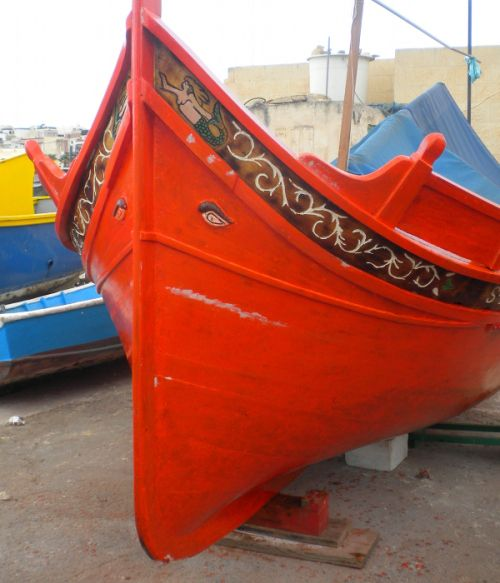A luzzu, or traditional Maltese fishing boat