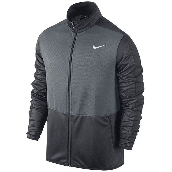 Men's Nike Dri-FIT Rivalry Full-Zip Jacket ($60) ❤ liked on Polyvore featuring men's fashion, men's clothing, men's activewear, men's activewear jackets, grey other and mens activewear