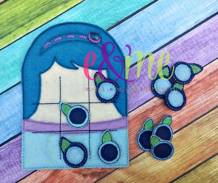 Blueberry Girl Tic Tac Toe Embroidery Design - 4x4 or Larger - E&Me Designs