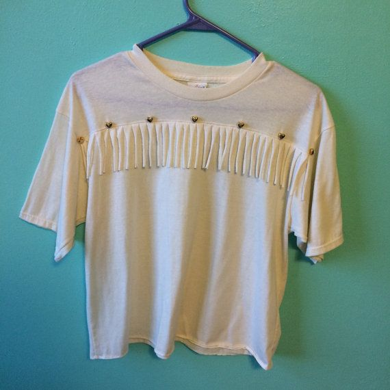 VINTAGE HEARTS & FRINGE festival t shirt/tee/top | 80s/90s, cut off style, gold beads/beaded