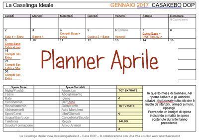 Il Calendario Casa DOP Aprile 2017 prevede, oltre le faccende di routine, una cucina equilibrata con spezie e erbe aromatiche,