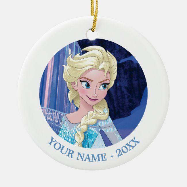 Elsa Looking Away Add Your Name Ceramic Ornament Zazzle Com Disney Christmas Ornaments Frozen Christmas Tree Frozen Christmas