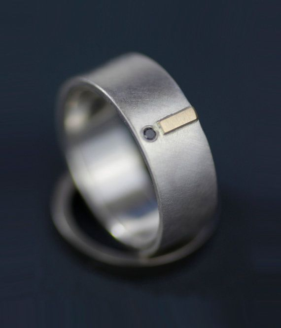 diamond and gold modern wedding ring set  unique by lolide on Etsy, $265.00