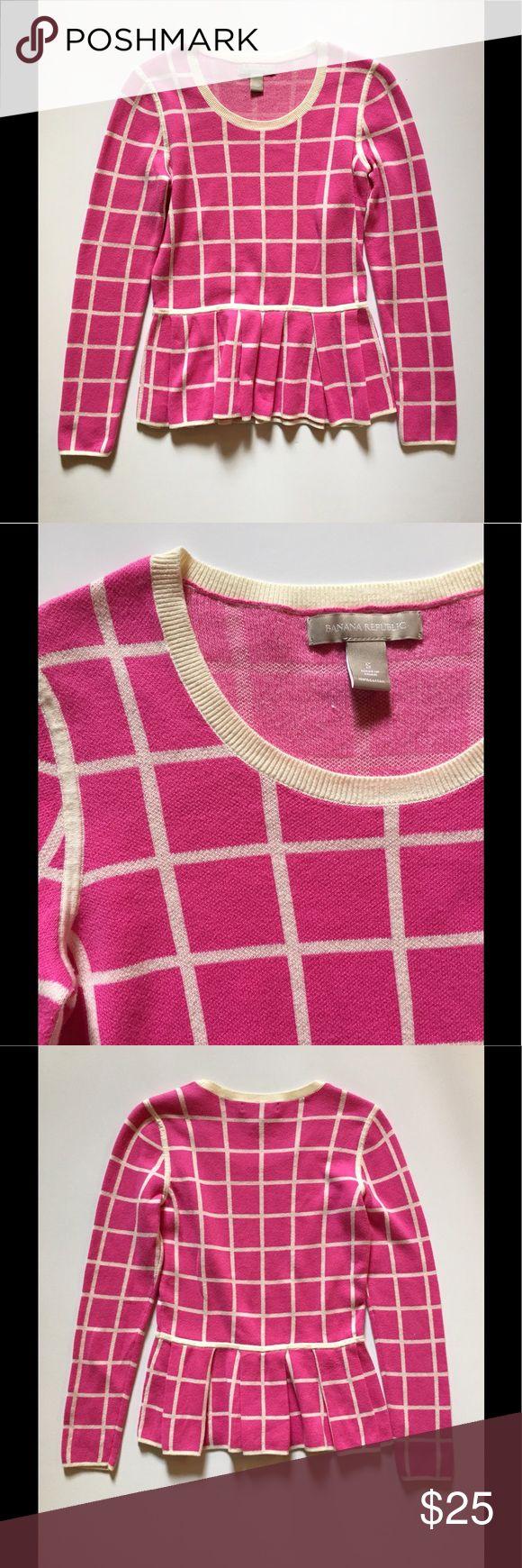 Banana Republic peplum sweater Pink and cream Banana Republic pleated peplum sweater. 100% cotton. Machine wash or dry clean. Banana Republic Sweaters