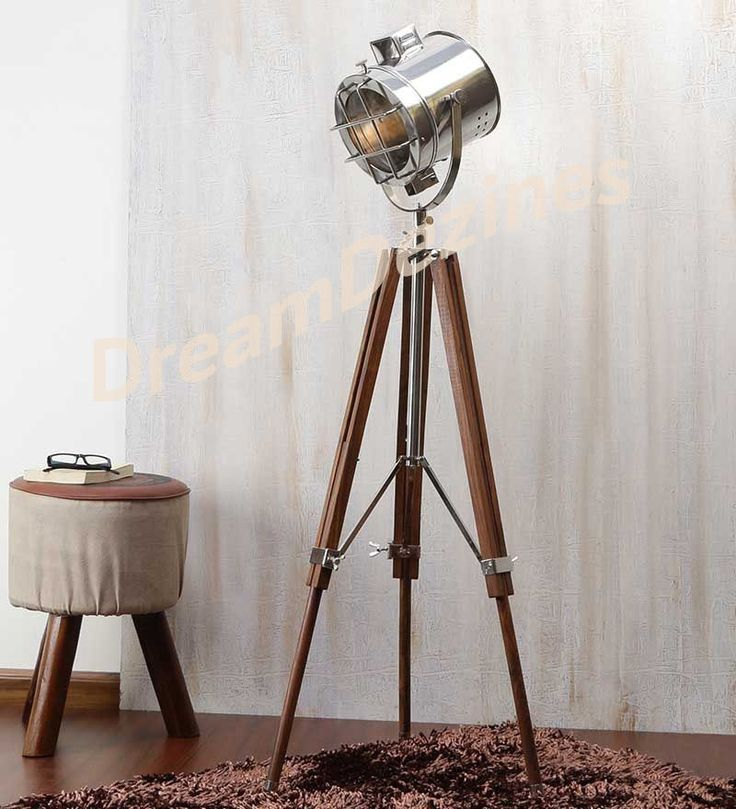 classic theatre spot light with solid wooden tripod floor lamp