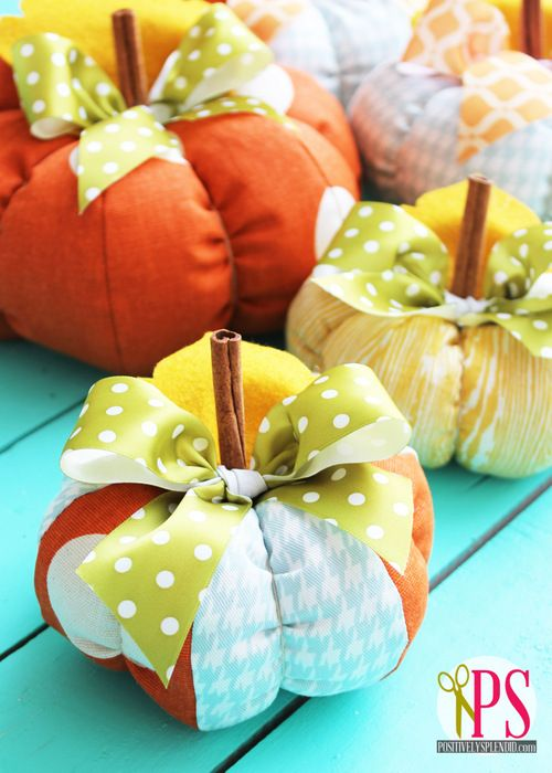 Plush Patchwork Pumpkin Tutorial with Free Downloadable Templates sewing patterns fall pumpkins