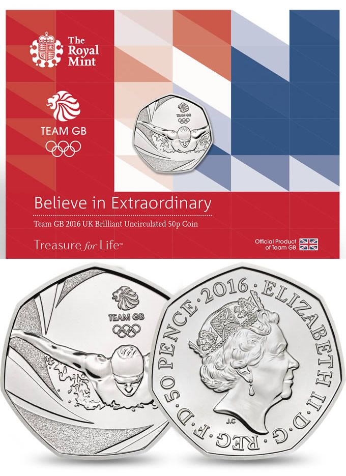 Buy Now: http://www.coincommunity.com/go/_to.asp?target=http://www.royalmint.com/shop/Team_GB_2016_UK_50p_Brilliant_Uncirculated_Coin  Royal Mint New Release: Team GB 2016 United Kingdom 50p Coin - Coin Community Forum