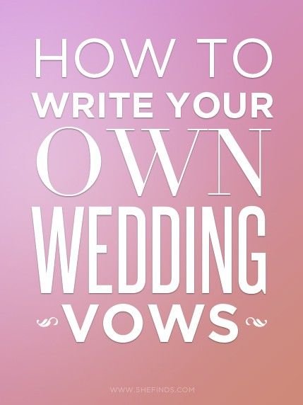 writing your own wedding ceremony If you're writing your own vows, you've chosen an incredible and meaningful way to personalize your wedding ceremony it's a chance to tell your story, give guests a peek into what makes your.