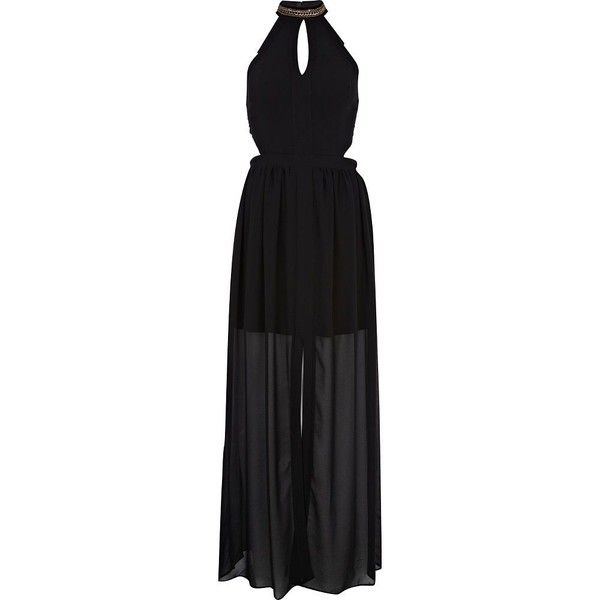 River Island Black cut out turtle neck maxi dress (155 RON) found on Polyvore featuring women's fashion, dresses, gowns, river island, long dresses, vestidos, sale, long-sleeve turtleneck dresses, sheer maxi dress and long sheer dress