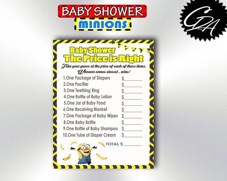 Minions Baby Shower Game, Minions Price Is Right, Price Is Right Baby Shower Printable, Yellow Baby Shower Game, Instant Download - bsm2 #babyshowerdisney #babyshowerfrozen