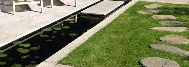 Long narrow pond with floating stepping stone
