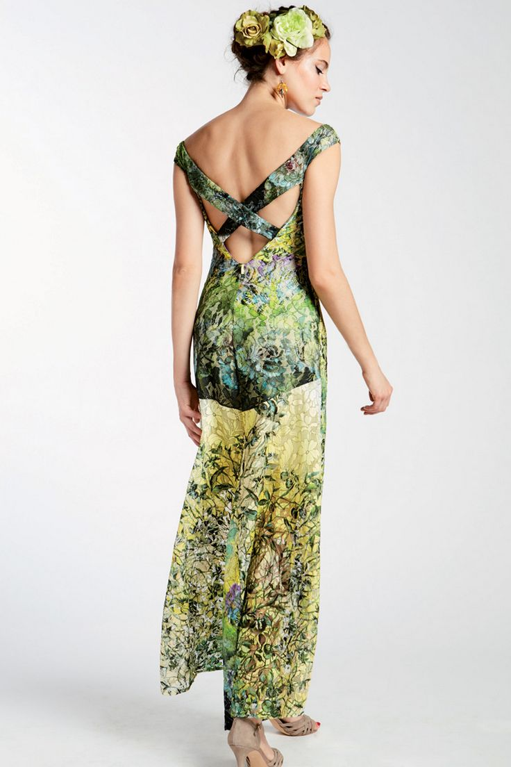 maxi jurk met gebloemd kant