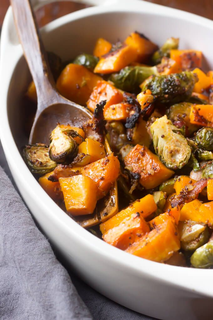 Maple Roasted Butternut Squash with Brussels Sprouts and Bacon!  This Paleo side dish is perfect for the Holidays!   wickedspatula.com