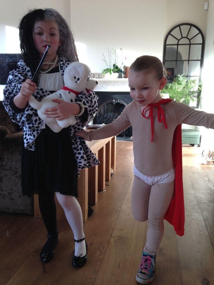 Cruella Devillle and Captain Underpants World Book Day costume Halloween. Homemade costume