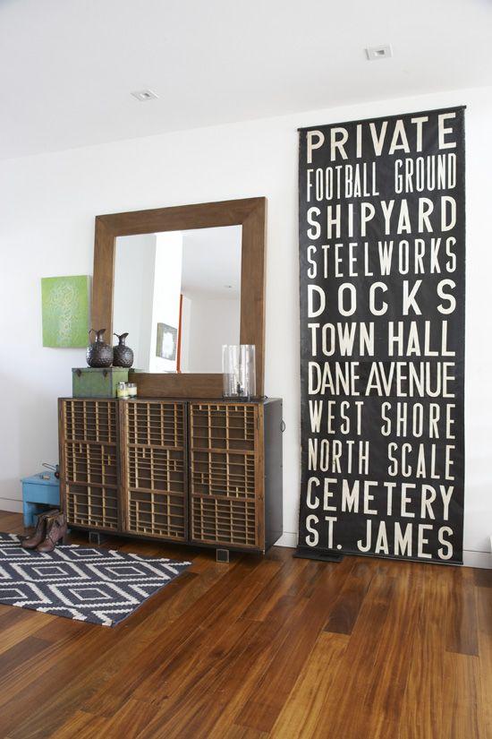 letterpress trays as doors ...great idea