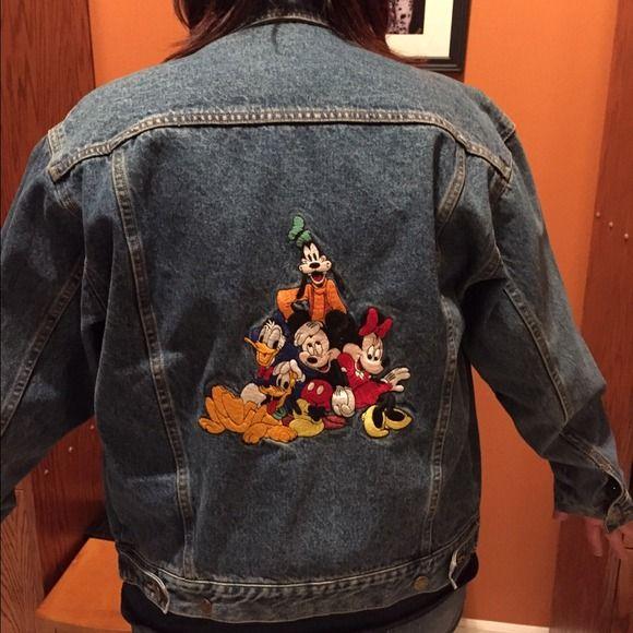 Vintage Disney blue jean jacket Disney Store Blue Jeans Jacket w/Fab Five embroidered back Disney Jackets & Coats Jean Jackets