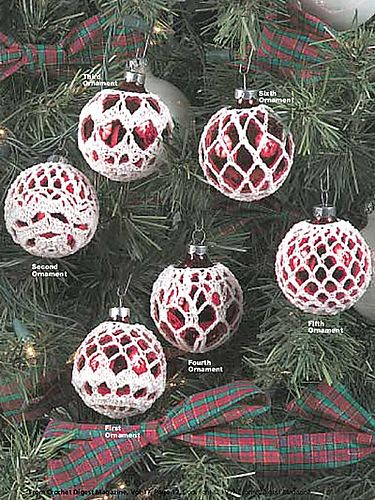 Elegant Ornaments..Made these and love them, but next time I will use a thinner thread for a lighter/lacier look or larger ornaments. MM
