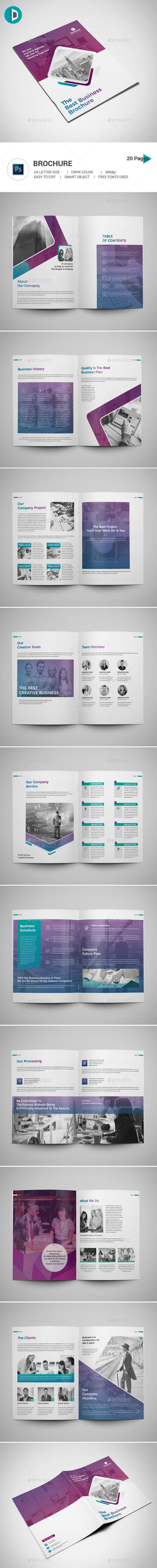 Brochure This Brochure Template Contains 20 Pages. You can use this brochure for your business purpose or others sector. You can easily change all text, layers, images etc (Smart Object use for image import).  Features:      20 Pages      US Letter Size      CMYK color mode      Easy to Edit      Photoshop PSD File