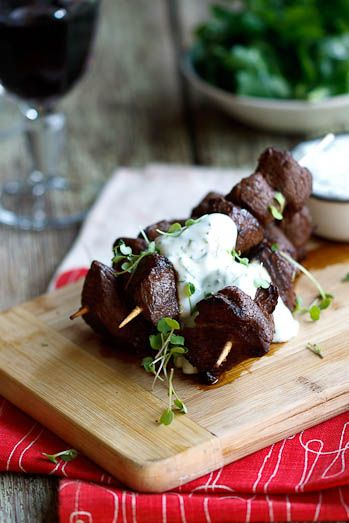 Ostrich kebabs w/feta herb sauce.   Simple recipe...I'll probably have to use beef or lamb.