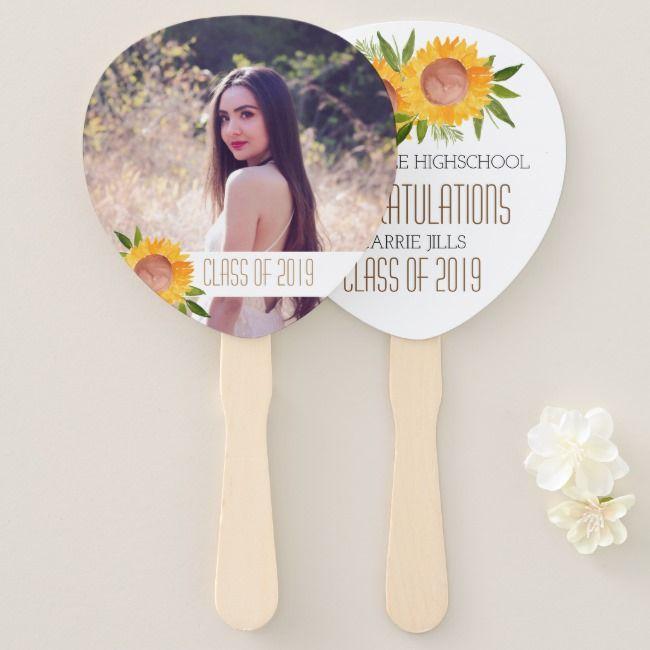 Sunflower graduation party congratulations fan | Zazzle.com