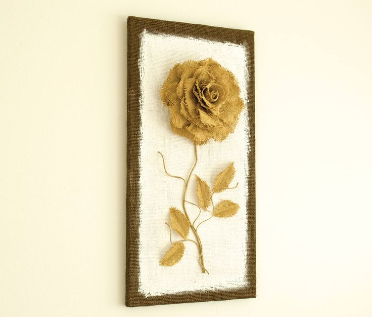 Burlap Canvas, Burlap picture, Biege sparkling Burlap flower, Rustic home decor,  Wall Decor, Burlap Art, Burlap Wall Art,  3D rose by eliseshope on Etsy