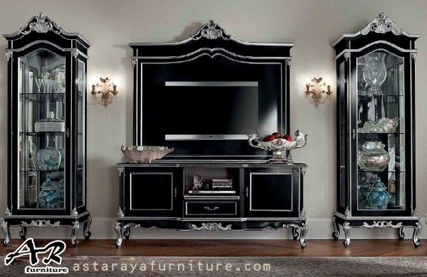 Set Bufet TV Mewah Terbaru Black Silver Duco Furniture