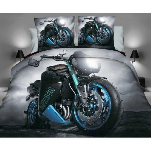 Motorka posteľná obliečka v sivej farbe