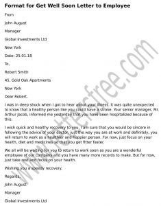 Format for Get Well Soon Letter to Employee | Letters Sample | Get