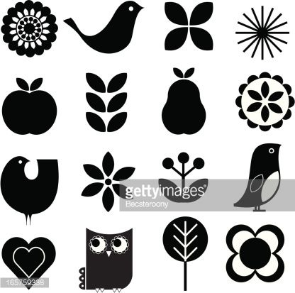 Retro-modern stylish Scandinavian-style vector nature design elements set. Includes birds, flowers, fruit.
