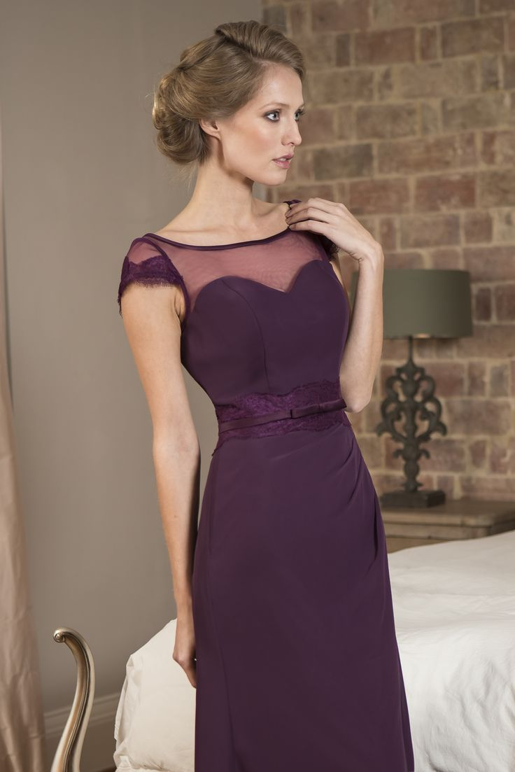 129 best b r i d e s m a i d s images on pinterest m570 slim fitting chiffon bridesmaid dress with sheer illusion neckline and delicate lace ombrellifo Choice Image