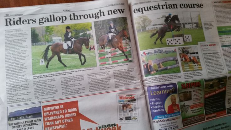 Eventing Wairarapa and Clareville Complex in the local news for the recent September 2014 equine event.  www.eventingwairarapa.co.nz www.clarevillecomplex.co.nz