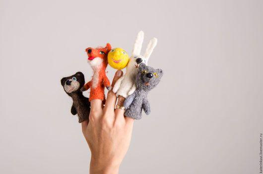 Кукольный театр ручной работы. Ярмарка Мастеров - ручная работа. Купить пальчиковый театр Колобок. Handmade. Пальчиковый театр, подарок