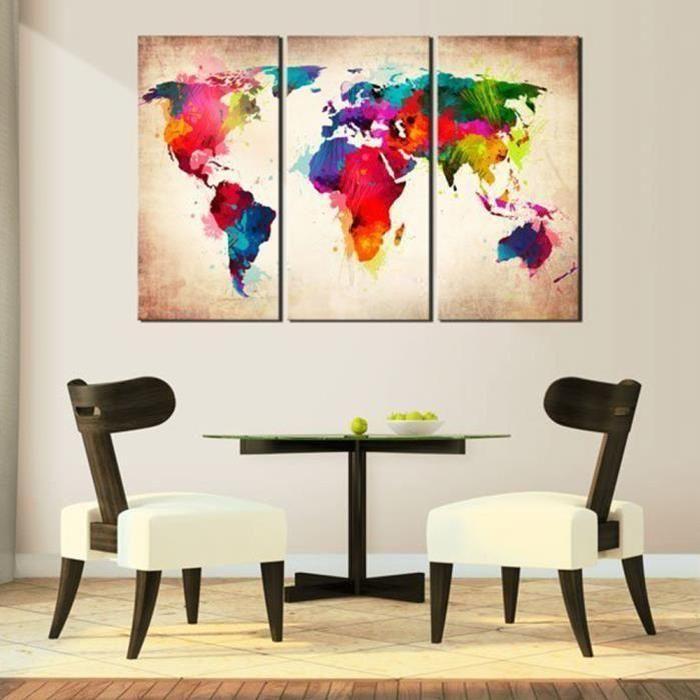 3pcs Tableau Toile Murale Graffiti Carte du Monde en Couleur Set de Peintures À L'huile Fresque Décorative Ecologiste.Matière:toile.Taille:40*80cm*3.L'article est livré sans le cadre,il vous faut encadrer les peintures!