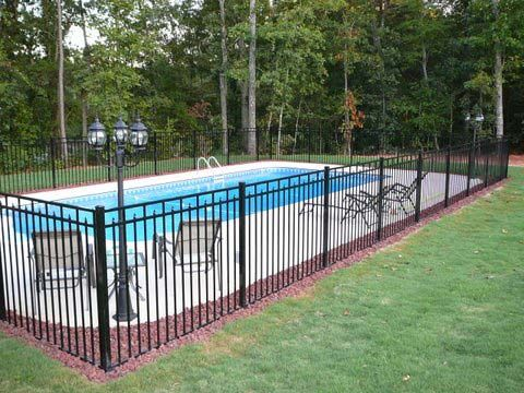 pool fence- pebbles in space around curves