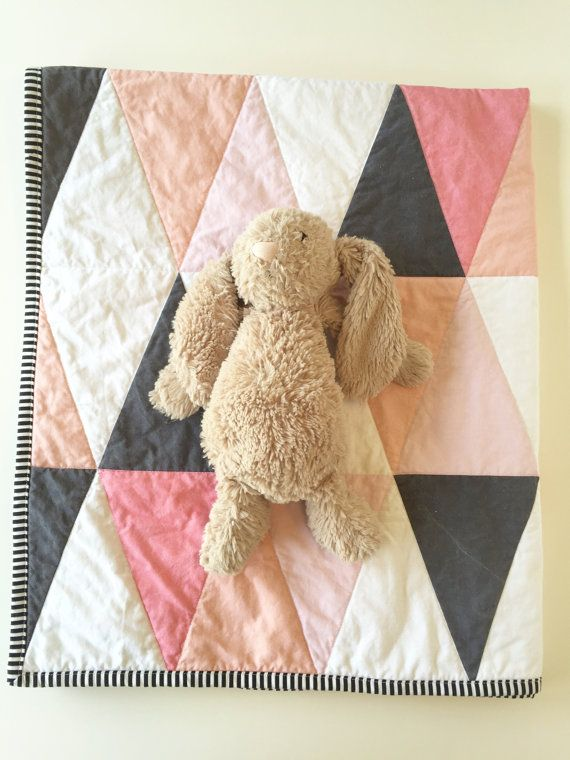 Blush pink peach coral modern baby quilt - ombre blush pink coral nursery - gray…