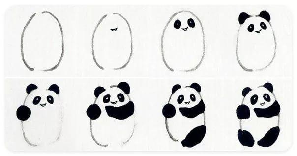 рисунок панды поэтапно вырезать бумаги