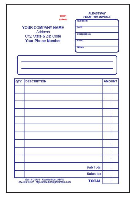 Make Free Printable Receipt | Also available in 3 part carbonless, e-mail for details.